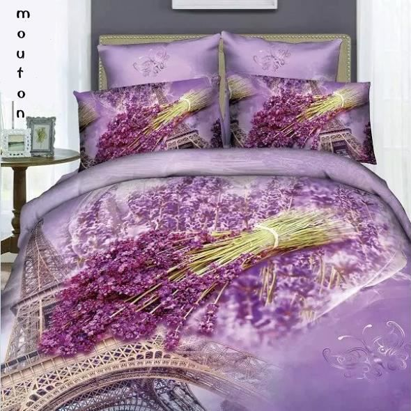 parure de lit la tour eiffel et lavande violete romantique coton 200 230 cm 3d effet 4 piece. Black Bedroom Furniture Sets. Home Design Ideas