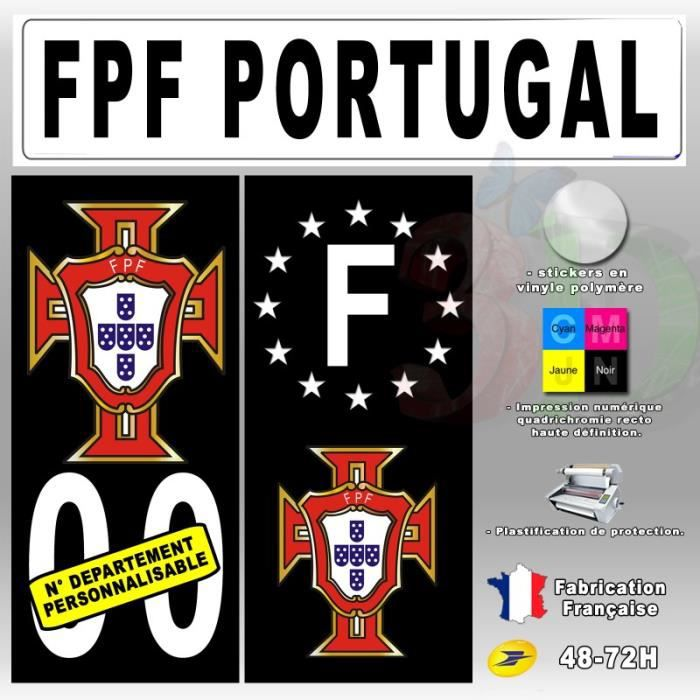 stickers plaque d 39 immatriculation 39 fpf portugal 39 auto moto fond noir 110x45 mm achat vente. Black Bedroom Furniture Sets. Home Design Ideas