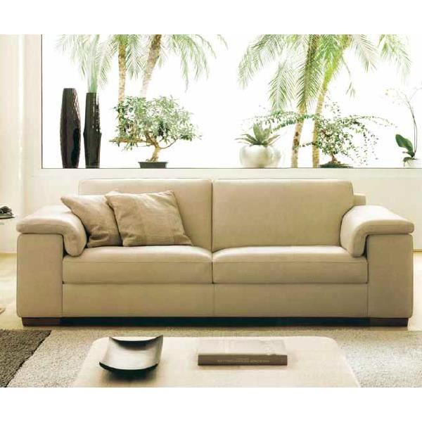 canap 2 places en cuir beige moderne achat vente canap sofa divan c. Black Bedroom Furniture Sets. Home Design Ideas