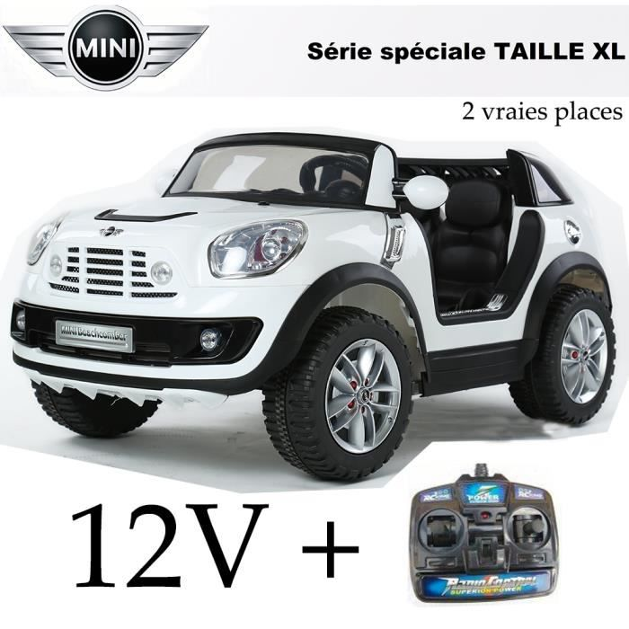 4x4 mini cooper lectrique enfant 2 grandes places xl 12 volts blanc achat vente voiture. Black Bedroom Furniture Sets. Home Design Ideas