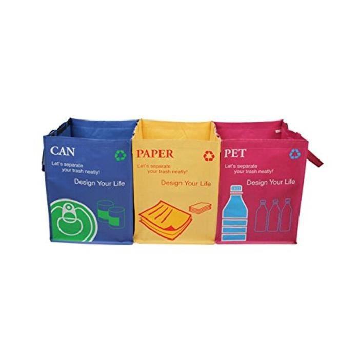SAC POUBELLE Recyclage Poubelle Lot De 3 Sacs De Tri Sélectif A