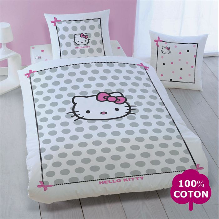parure de couette hello kitty july 140x200cm achat. Black Bedroom Furniture Sets. Home Design Ideas