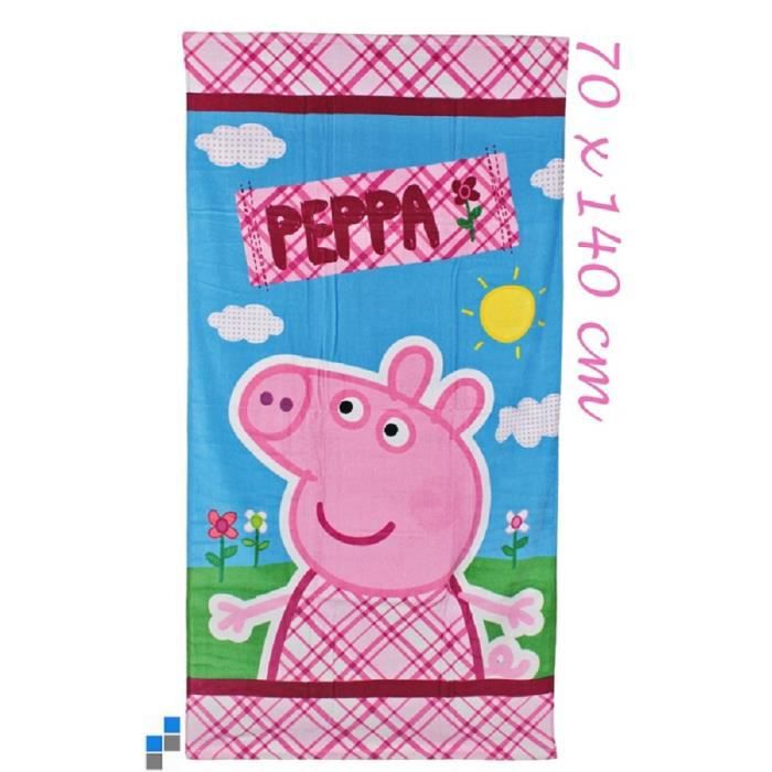 serviette de bain enfant disney peppa pig 70 cm x 140 cm achat vente serviettes de bain. Black Bedroom Furniture Sets. Home Design Ideas