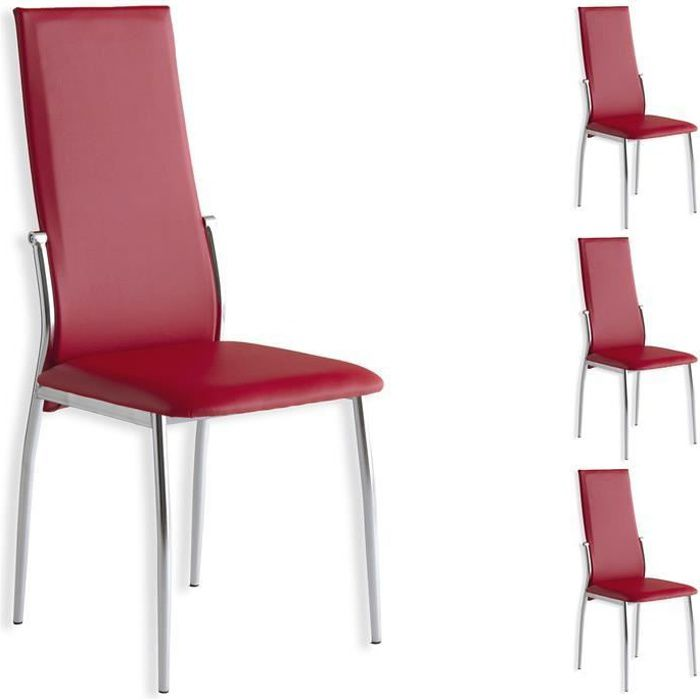 lot de 4 chaises doris rouge achat vente chaise rouge. Black Bedroom Furniture Sets. Home Design Ideas