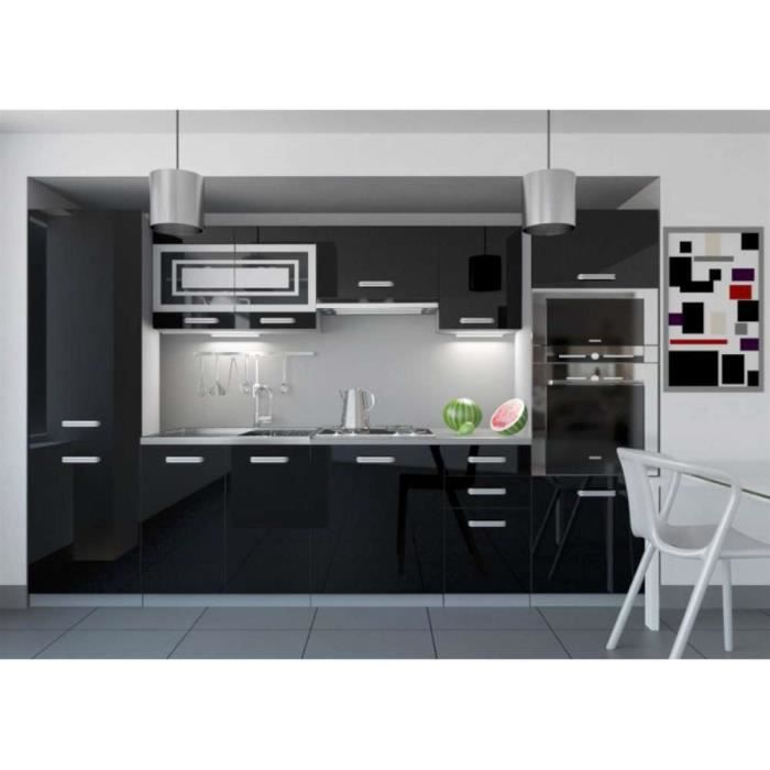 justhome infinity led cuisine quip e compl te 300 cm couleur noir laqu haute brillance. Black Bedroom Furniture Sets. Home Design Ideas