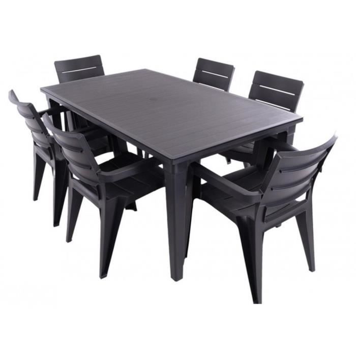 justhome salon de jardin ibiza ensemble 6 chaises table noir achat vente salon de jardin. Black Bedroom Furniture Sets. Home Design Ideas