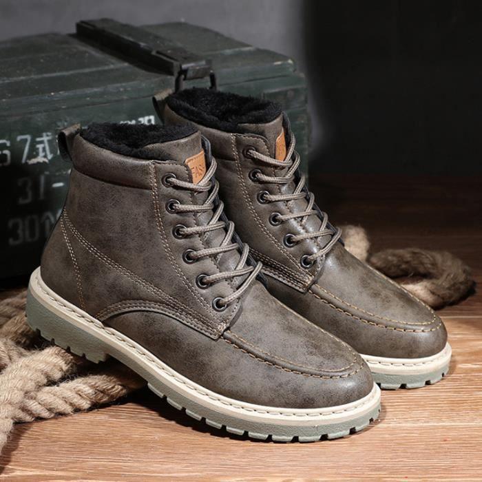 Hiver Boots Bottines Nouvelle Collection Hommes Mode Bottes Marron Cuir H29EWYDI