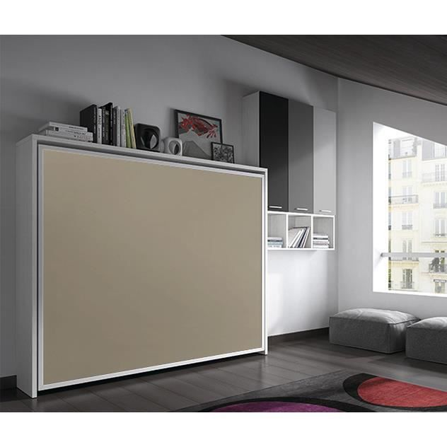 armoire lit escamotable fleet lat rale 140x190cm achat vente lit escamotable cdiscount. Black Bedroom Furniture Sets. Home Design Ideas