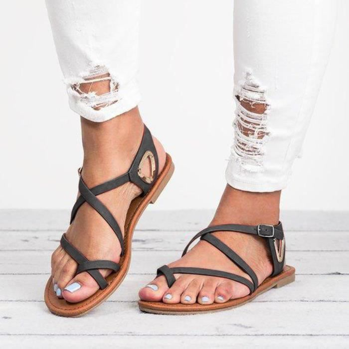 Femmes Femmes d'été Big Casual Taille sandales de plage plat Chaussures romaine armée verte