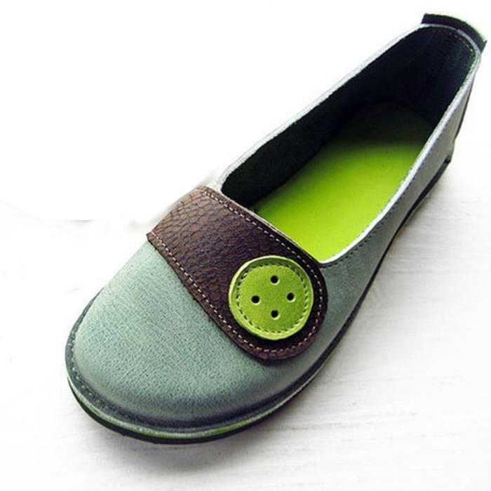 yangledu®Rétro Femmes Lumière Flats Non-Slip Chaussures Casual bouche peu profonds de Chaussures Sandales  vert