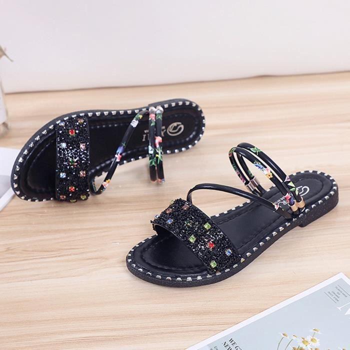 Mode pour femmes d'été en strass Fleurs Chaussures Sandales de plage Noir   JFKAJC14866