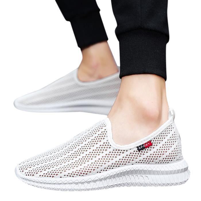 Été Respirant Chaussures de sport creux maille tissée Homme Slip-On Sneakers Souliers simple blanc