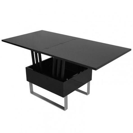 Woods Noir Table relevable multifonction laquée basse TlJcK3F1