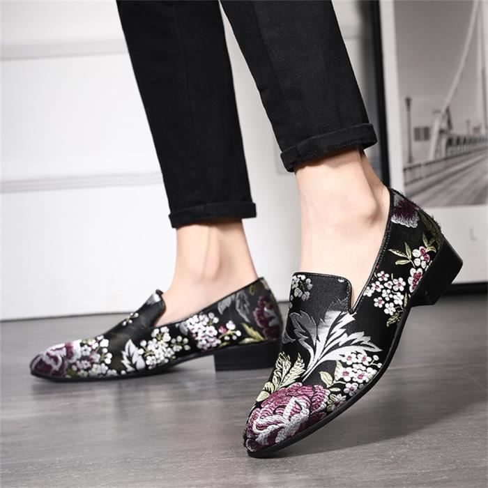 Chaussures pois style chinois hommes Slip-On Broderie Mode Chaussures Casual Noir