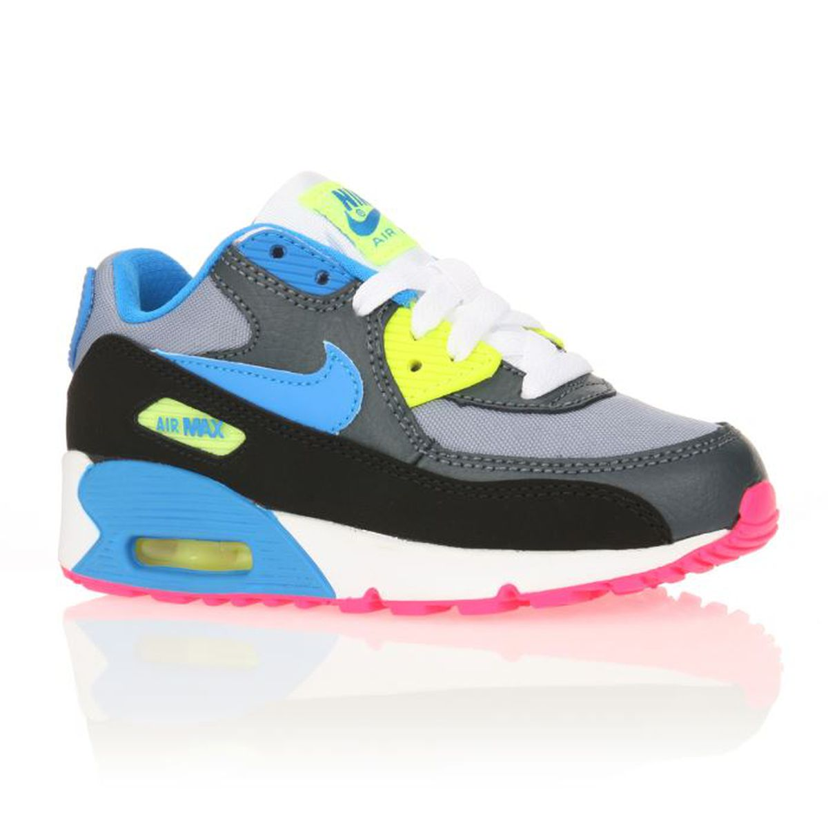 nike baskets air max 90 enfant gar on gris noir bleu achat vente basket cdiscount. Black Bedroom Furniture Sets. Home Design Ideas
