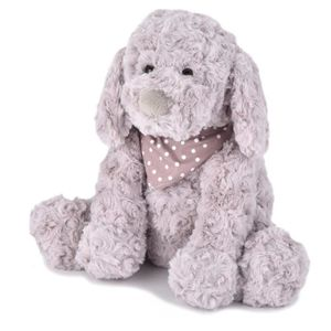 PELUCHE Chika Rosy Plush Puppy Dog With Scarf, Grey, 10 In