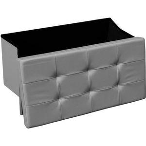 POUF - POIRE Banquette coffre rectangle pliable gris STEVEN