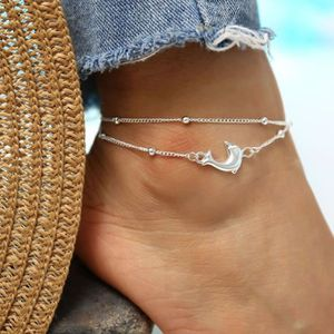 Jovono Multicouche Tortue Perl/é Cheville Argent Dauphin Cheville Bracelet Bracelets De Mode Plage Pied Bijoux pour Femmes