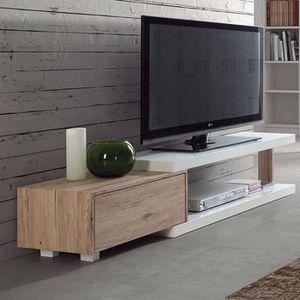 MEUBLE TV Meuble tv scandinave blanc et bois NILS