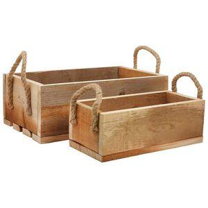 70 CM Caisse en bois CANTINE Conservation Caisse Coffre en bois box avec cordes env