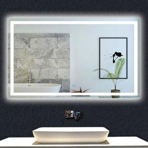 PORTE DE DOUCHE Miroir de salle de bain 100x80cm anti-buée miroir