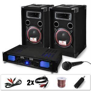 AMPLIFICATEUR HIFI Set DJ Ampli PA + Enceintes + Micro + Câbles 1000W