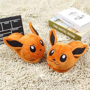 Anime Pokemon Pikachu Hiver Chaussons Doux Bas Chaud Peluche Home ...