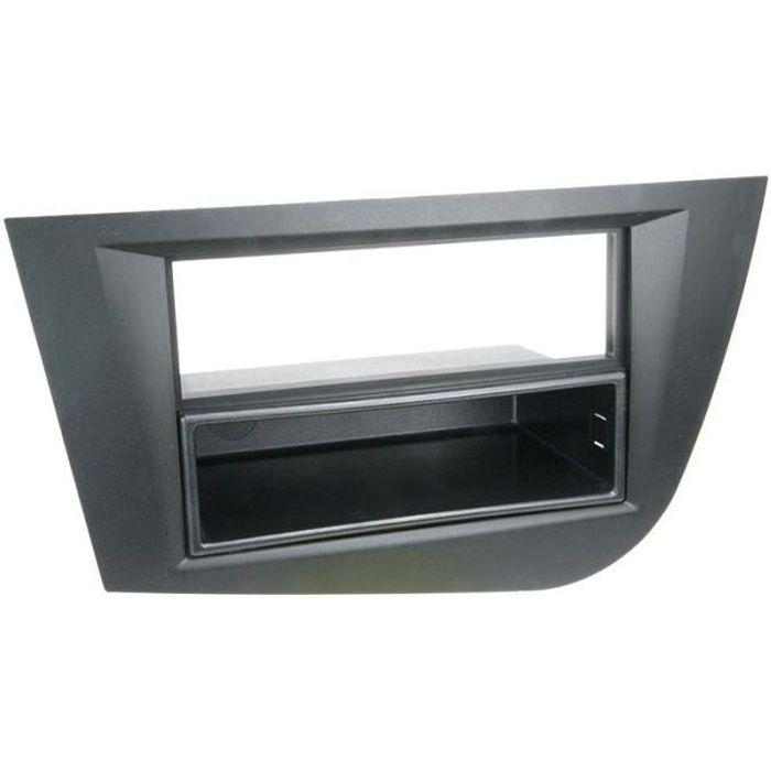 Adaptateur de façade 2-DIN avec vide poche Seat Leon 2005 - 2009 noir