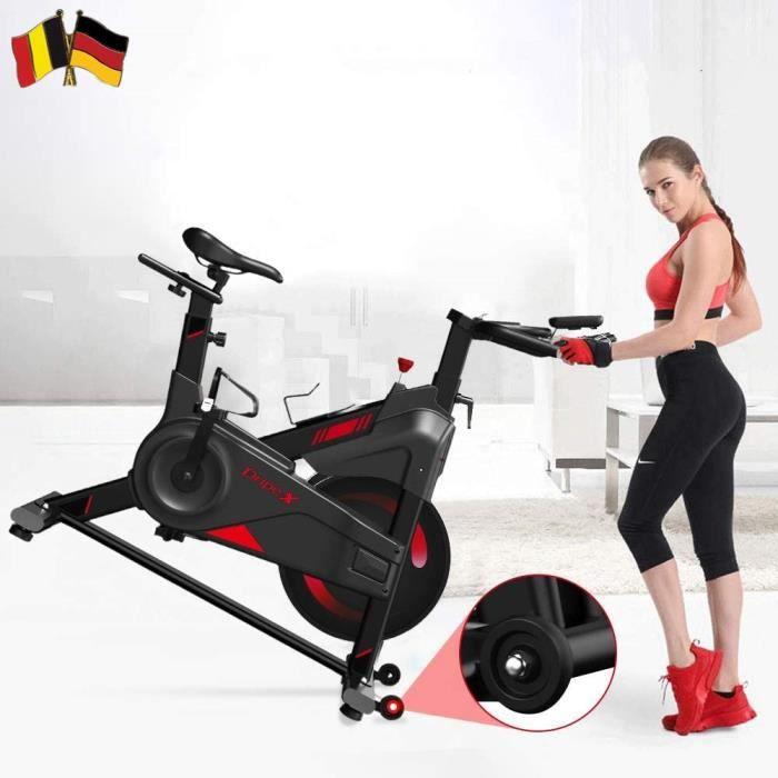 PRO Vélo d'appartement Vélo biking spinning intérieur fitness avec moniteur LCD, capacité 300 LBS - porte-bouteille Noir