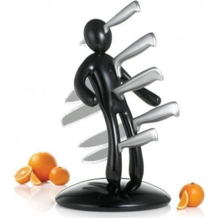 Porte Couteaux Cuisine VuduKnifes + Set 5 Couteaux Acier Inoxydable (Noir)