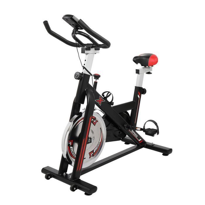 Vélo d'Appartement Fitness, avec Moniteur de fréquence Cardiaque-Écran LCD-Capteurs de pouls, Vélo Sport Biking 105*50* (108-118)cm