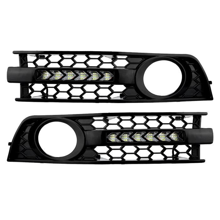 XUY 2PCS Voiture Circulant LED DRL Clignotants Lumière Avant Pare-chocs Grille Feu Antibrouillard pour Audi A4 B6 01-05