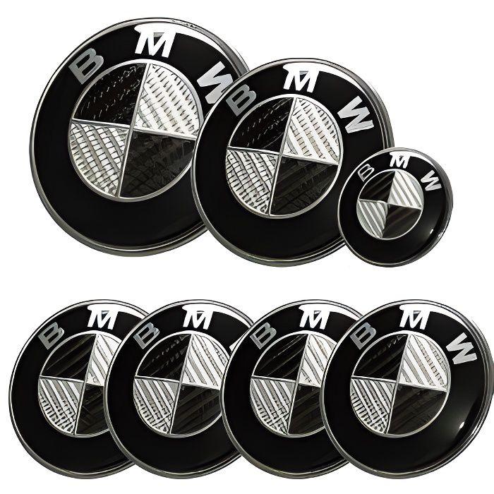 KIT 7 Badge LOGO Embleme BMW Carbone Noir Gris Capot + Coffre 82mm +Volant + 4 centre de roue