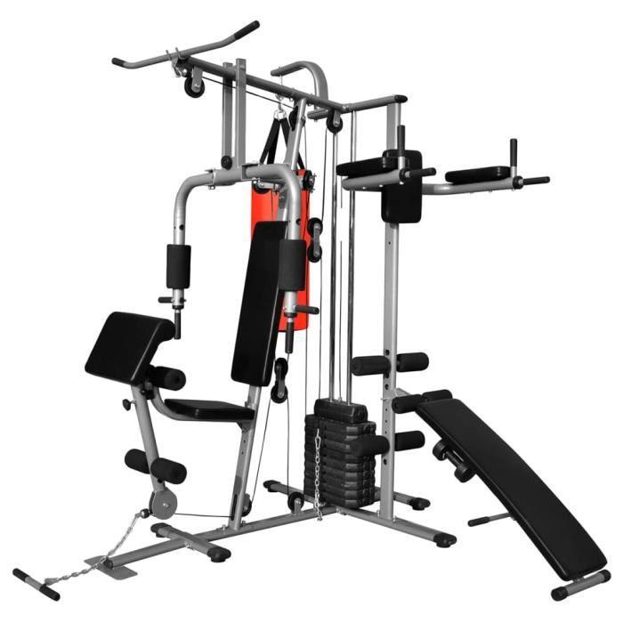 ♫5513 Appareil de musculation multifonctionnel Classique - Station de Musculation - avec 1 sac de boxe 65 kg MMCZ®