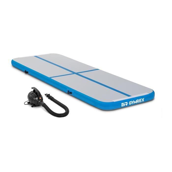 Tapis de Gym Kit Airtrack Gonflable Gymrex GR-ATM1-SET (300x100x10cm 150 kg 10 PSI / 07 bar PVC Nylon ABS Bleu/Gris)
