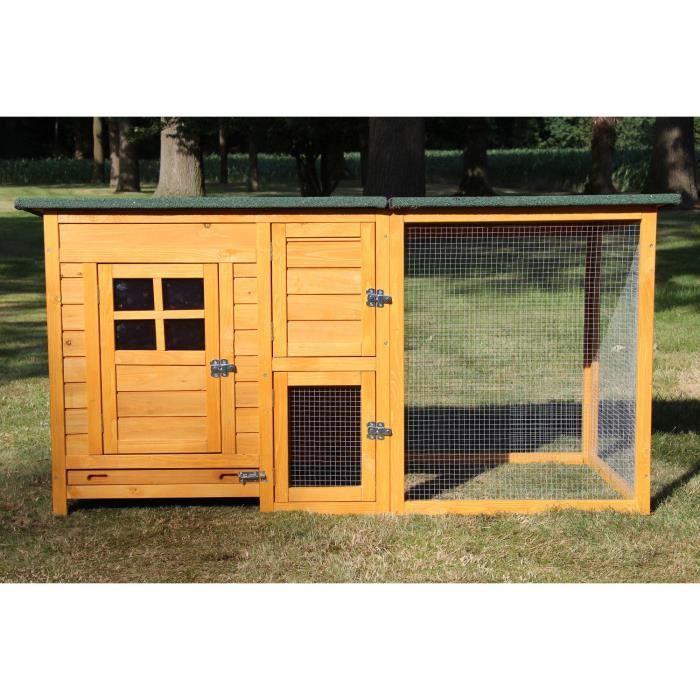 Poulailler en bois pour jardin extérieure poules cage canard équipé 2 perches 150 x 80 x 68 cm FLEXI 147 Standard