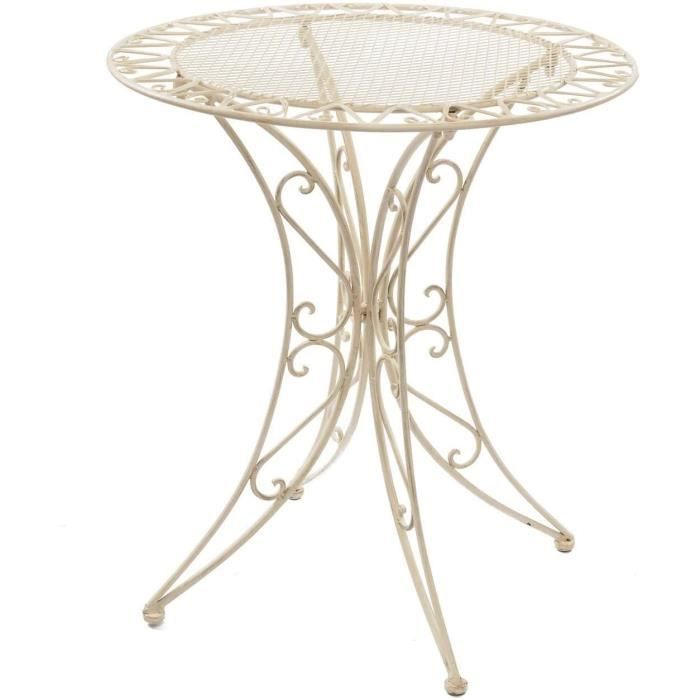 aubaho Table de Jardin - Fer forgé - Style Antique - crème-Blanc,570