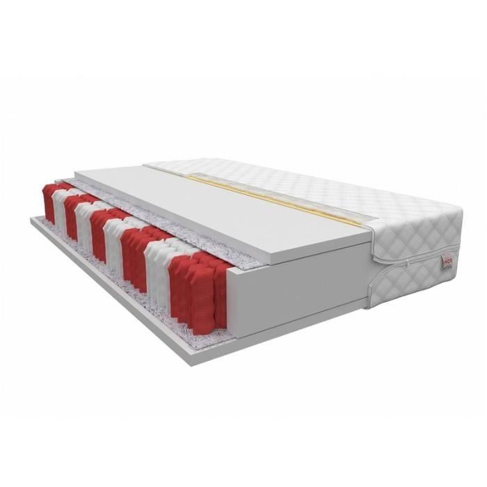 Matelas - HERSHEY - 80 x 200 - à ressorts ensachés - 7 zones de confort - avec housse antiallergique - garantie d'un sommeil sain