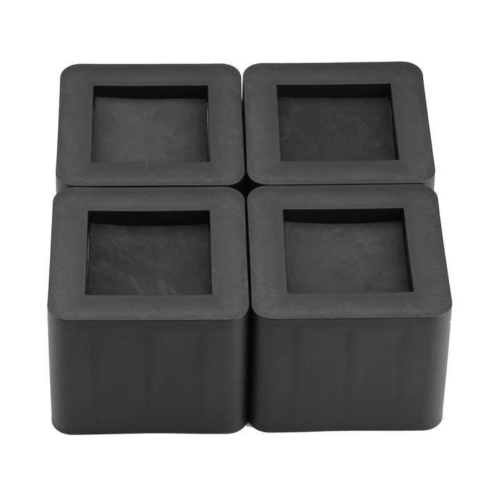 4X Rehausseur Meuble Rehausseur Pieds de lit Ajouter Hauteurs Meuble REHAUSSEUR DE CHAISE ELEVATEUR noir HB010