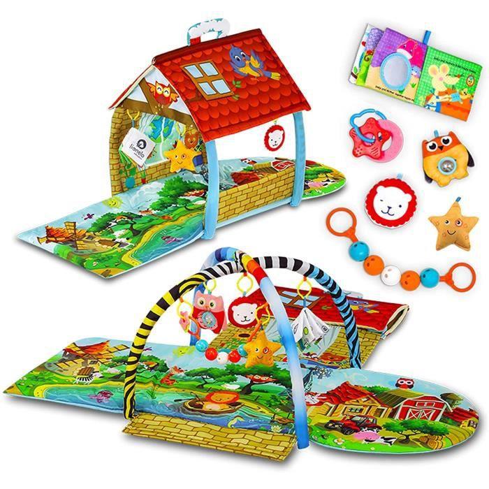 Lionelo Agnes 2en1 tapis bebe tapis avec une maison jouets hochets et anneaux de dentition inclus matériaux doux colorés et d 26