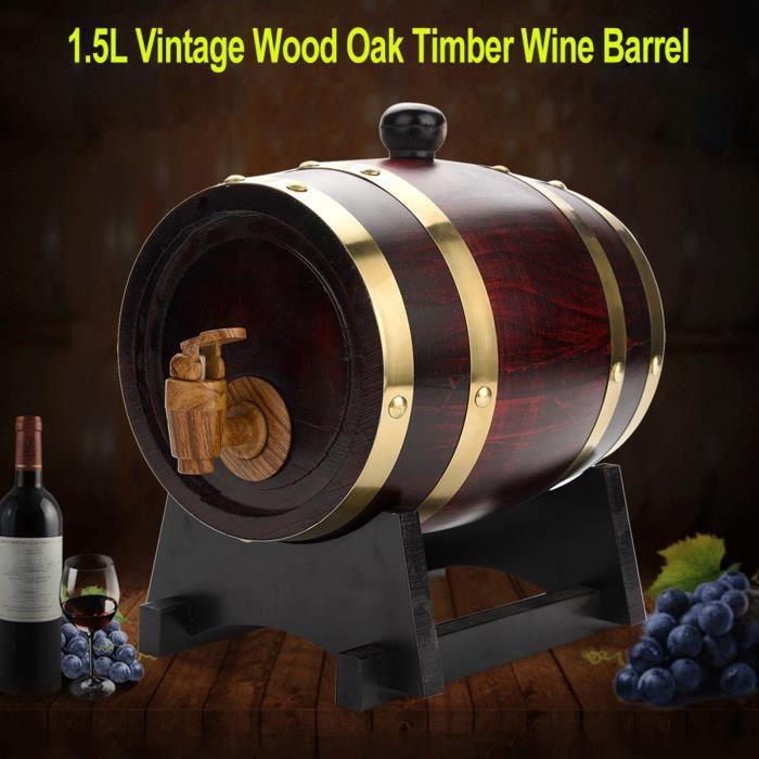 Dioche baril pour bière Tonneau à vin en bois de chêne vintage pour bière Whisky Rum Port 1.5L