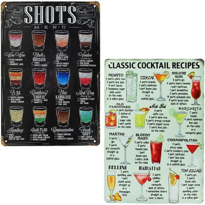 2 Pcs Plaque Metal Vintage en Fer Classic Cocktail Recipes Shoots Menu Plaque Retro Deco Durable Affiche Métallique Vintage 20 * 30c