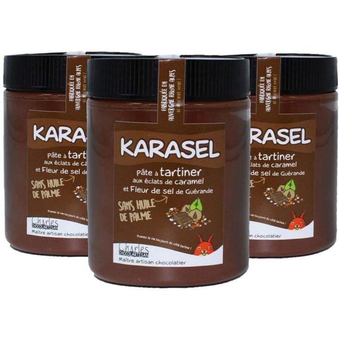 Lot de 3 pots pâtes à tartiner chocolat lait noisettes et caramel au beurre salé Karasel- 3x570 g