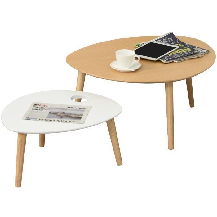Lot de 2 tables basses gigognes design scandinave bicolore bois clair blanc pieds effilés bois massif hévéa 74x63x36cm Beige