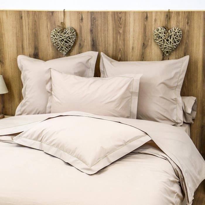 LINANDELLE - Housse de couette unie coton Percale 200 fils DESIREE - Beige foncé - 240x280 cm