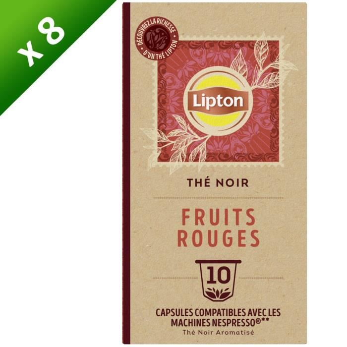 LOT de 8 LIPTON Capsules Thé Noir Fruits Rouges Nespresso - Lot de 8 x 10 Capsules