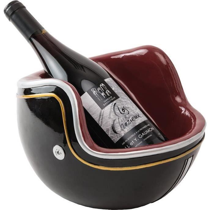 LUDI VIN Porte-bouteille Casque de moto vintage - Noir et rouge bordeaux