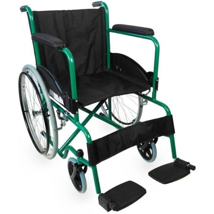 Fauteuil roulant pliable - orthopédique - léger - vert - Alcazaba - Mobiclinic