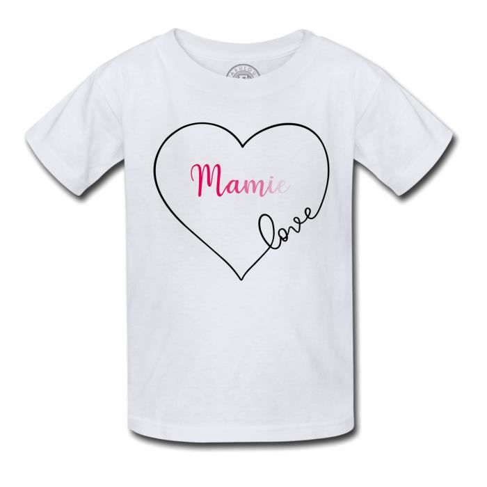 T-shirt Enfant Mamie Love Coeur Amour Grand Mere Tendresse