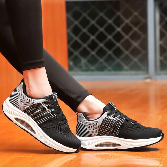 chaussure de securite Femmes Outdoor Running Rock Chaussures Compensées Coussin Sport Chaussures Décontractées Baskets